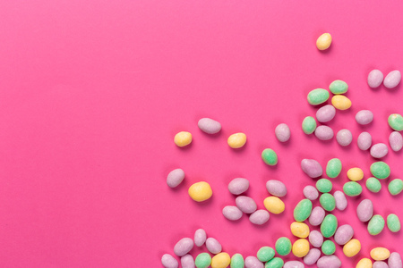 Colorful lollipops on a pink background Stock Photo