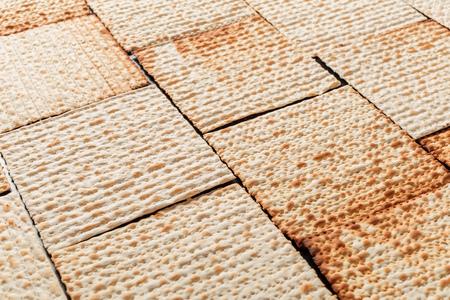Texture of jewish passover matzah (unleavened bread). Symbol of jewish passover. Stock Photo