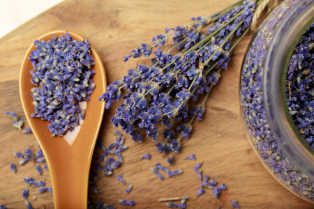Bunch of dried lavender on wooden background Imagens