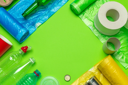 waste materials paper, plastic, polyethylene Stock Photo