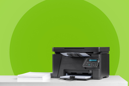 Printer, copier, scanner. Office table Stok Fotoğraf
