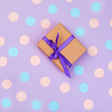 gift box on color background top view Stock Photo