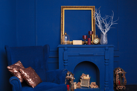 blue armchairs in blue cozy living room decor concept