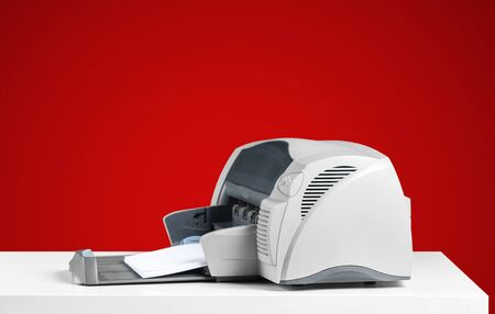 Printer, copier, scanner. Office table 版權商用圖片
