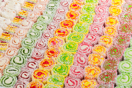 Assorted traditional turkish delight Stock Photo