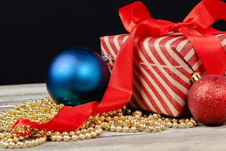 Christmas table decor with a gift box