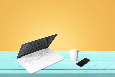 workspace with modern laptop