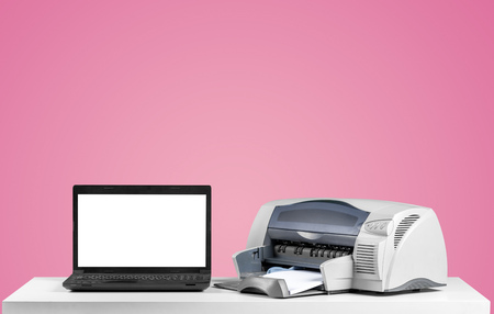 Printer and computer. Office table Stock Photo