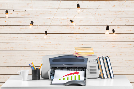 Printer, copier, scanner. Office table Stock Photo
