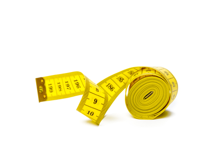 yellow metric measuring tape isolated on white panorama background Banque d'images - 119104264