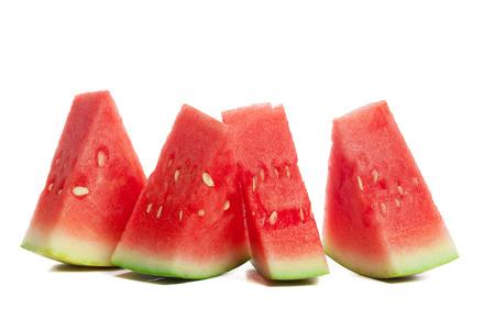 Scheibe Wassermelone auf weißem Hintergrund Standard-Bild
