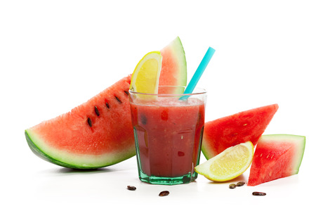 Watermelon drink in glasses with slice Stock Photo