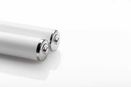 Battery on a white