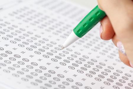 Test scoreblad met antwoorden Stockfoto
