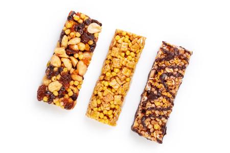 Healthy granola munchies on white background Stok Fotoğraf