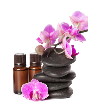 zen stone and orchid. spa concept Stock Photo