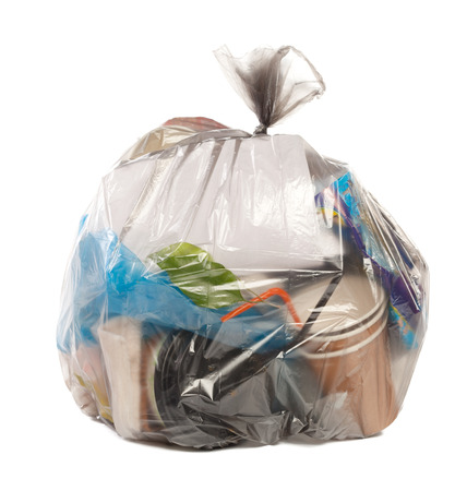 Plastic bag full of rubbish on isolated white background Stock Photo