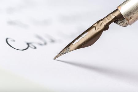 Fountain pen on an antique handwritten letter Stok Fotoğraf