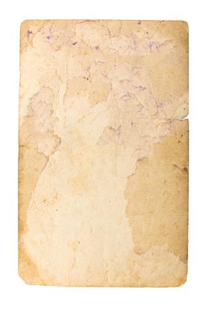 Oud papier op witte achtergrond. Stockfoto