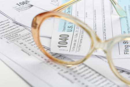 Tax forms, close up Imagens