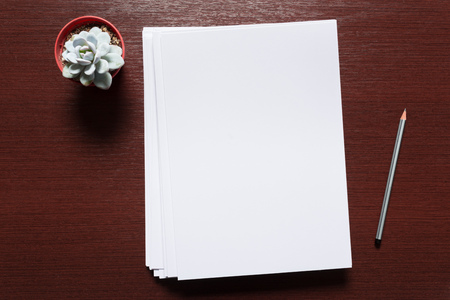 Tarjeta de visita blanca sobre mesa de madera. Retrato en blanco A4.
