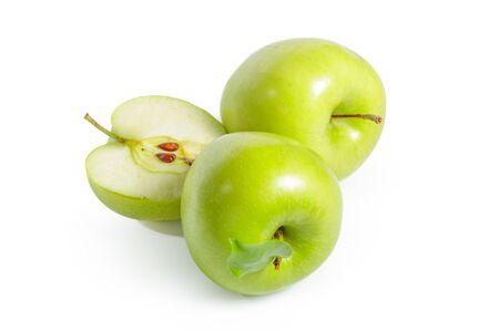 Fresh granny smith apples on white background. creative photo