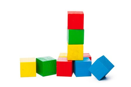 Wooden building blocks isolated on white background