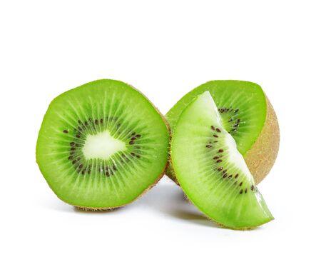 kiwi fruits isolated on white background. creative photo Banco de Imagens