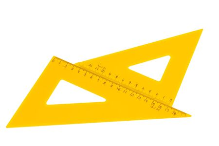 Set of yellow rulers, marked in centimeters isolated on white background Reklamní fotografie