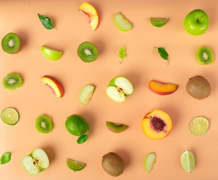 Food texture. Seamless pattern of fresh various fruits.