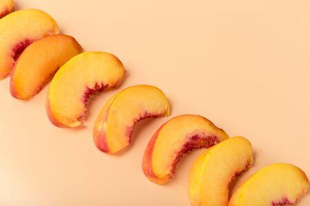 Ripe peach fruit slice. creative photo Banco de Imagens