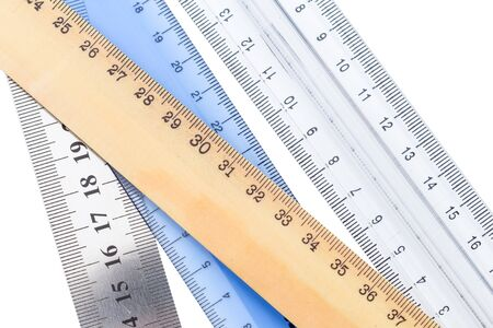 Set of measuring rulers isolated on white background
