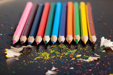 Arrangement of colorful pencils close up