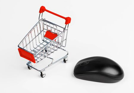 Shopping Cart and Computer Mouse, concept of online shopping