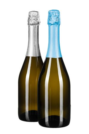 bottle of champagne isolated on white. creative photo. Reklamní fotografie