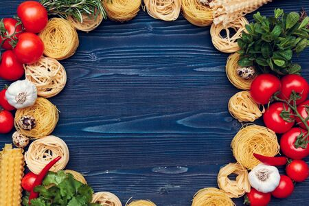 top view closeup detail of tagliatelle Italian pasta. creative photo.