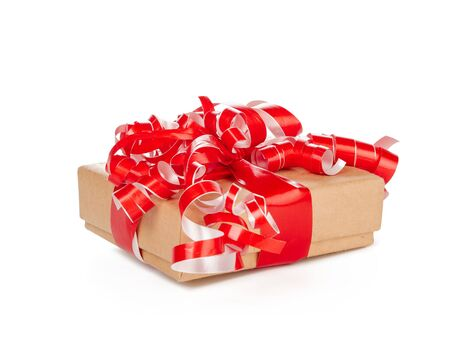gift box with ribbon bow isolated on white background