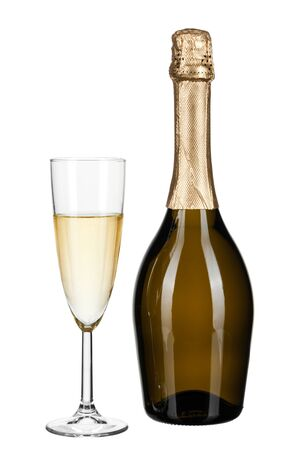 bottle of champagne isolated on white. Creative photo.