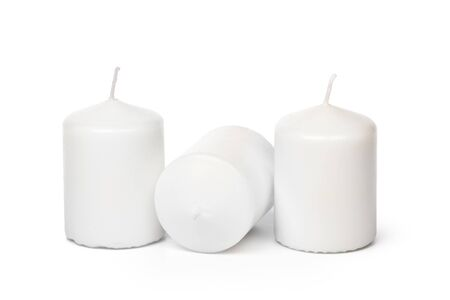 White Wax Candles Lights Isolated on White Background Stock Photo