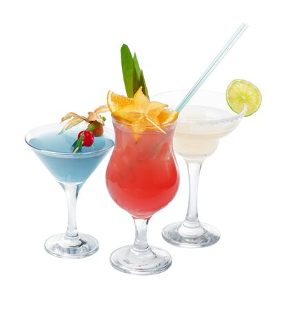 Three different alcoholic cocktails on a white background 写真素材