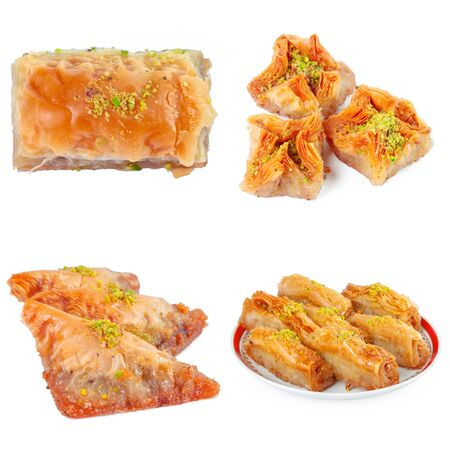 Tasty turkish sweets collage isolated on white Stock Photo