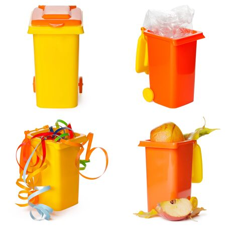 Multicolored Garbage Trash Bins, Recycling Bin, Garbage Bin waste isolated on white background