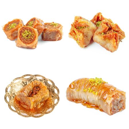 Tasty oriental sweets collage isolated on white. Creative photo.