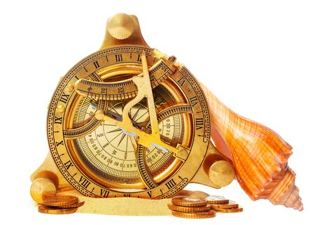 sea shells and old compass with sand isolated on white background. creative photo. Фото со стока