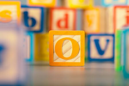 Photograph of colorful Wooden Block Letter O Imagens