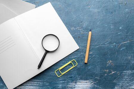Top view on school educational supplies. Desktop. creative photo.