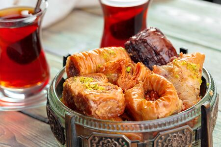 Traditional Baklava on Wooden Table Stock Photo