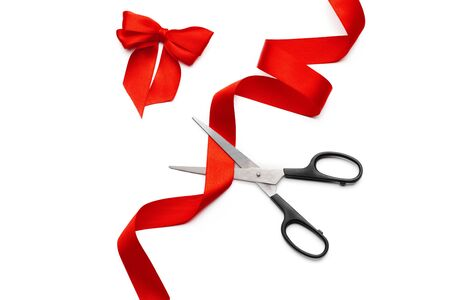 ribbon with scissors isolated on white. creative photo.