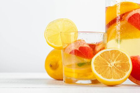 Citrus lemonade, summer drink. close up. creative photo.