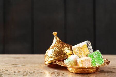 Delicious Colorful Turkish Delights. close up. creative photo.